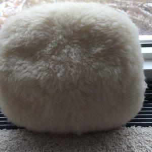 Cream white sheep fur muff, L